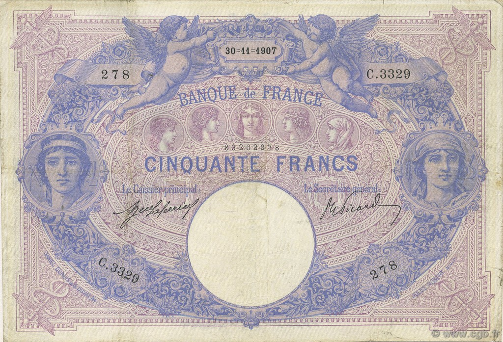 50 Francs BLEU ET ROSE FRANCE  1907 F.14.20 TB