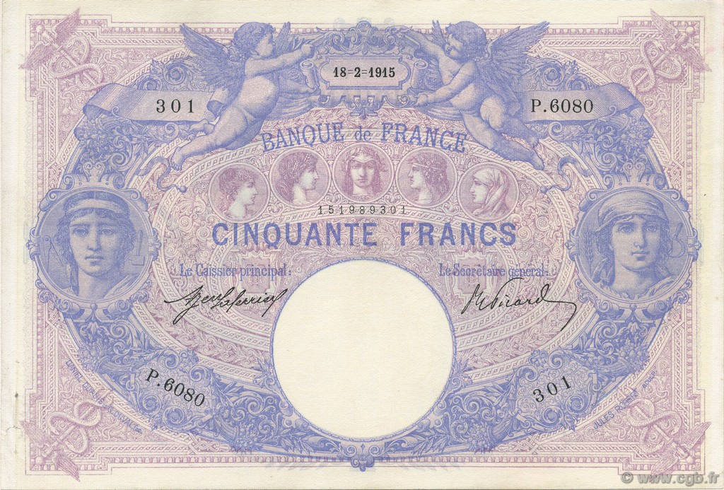 50 Francs BLEU ET ROSE FRANCE  1915 F.14.28 SUP à SPL