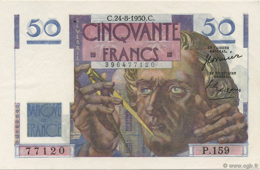 50 Francs LE VERRIER FRANCE  1950 F.20.16 SPL+