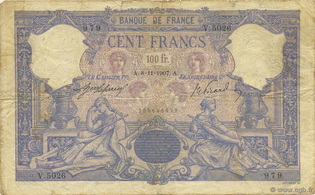 100 Francs BLEU ET ROSE FRANCE  1907 F.21.22 pr.TB