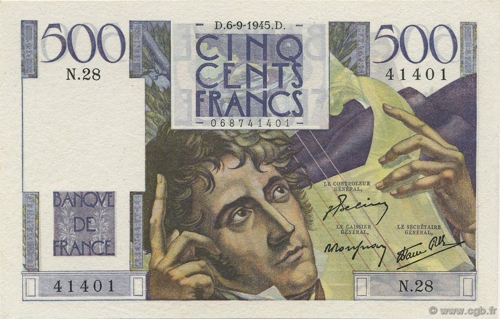 500 Francs CHATEAUBRIAND FRANCE  1945 F.34.02 SPL