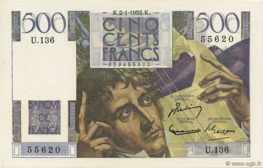 500 Francs CHATEAUBRIAND FRANCE  1953 F.34.11 SPL+