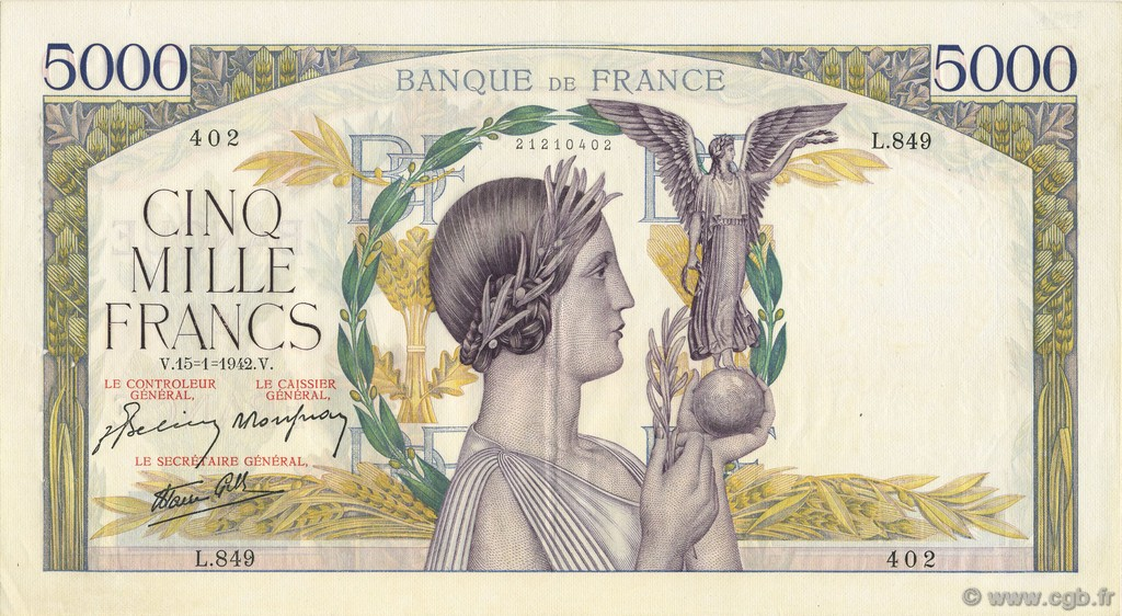 5000 Francs VICTOIRE Impression à plat  FRANCE  1942 F.46.33 SUP