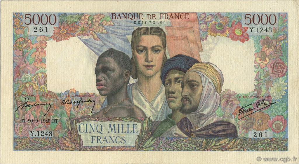 5000 Francs EMPIRE FRANÇAIS FRANCE  1945 F.47.44 pr.SUP