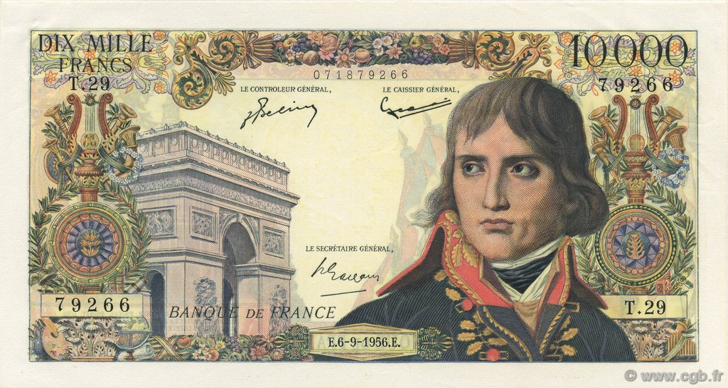 10000 Francs BONAPARTE FRANCE  1956 F.51.04 pr.SPL