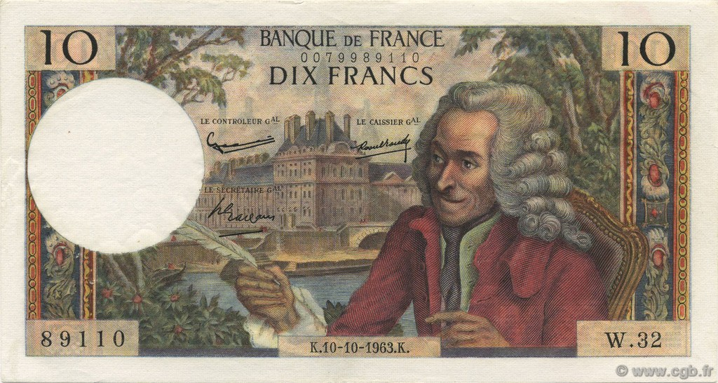 10 Francs VOLTAIRE FRANCE  1963 F.62.04 SUP+