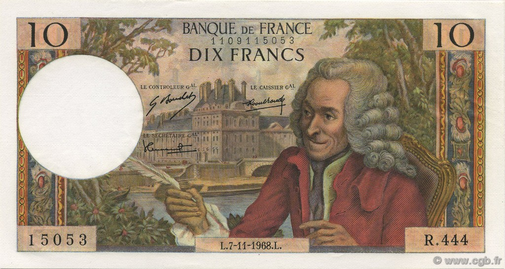 10 Francs VOLTAIRE FRANCE  1968 F.62.35 pr.NEUF