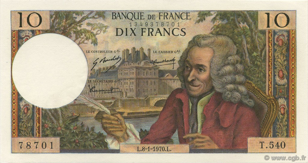 10 Francs VOLTAIRE FRANCE  1970 F.62.41 NEUF
