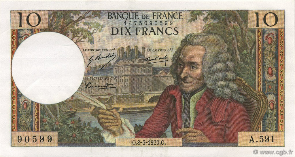 10 Francs VOLTAIRE FRANCE  1970 F.62.44 pr.NEUF