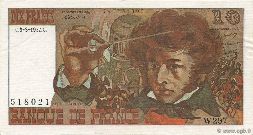 10 Francs BERLIOZ FRANCE  1977 F.63.21 SUP+