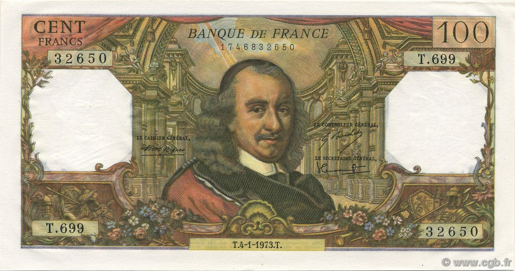 100 Francs CORNEILLE FRANCE  1973 F.65.41 NEUF