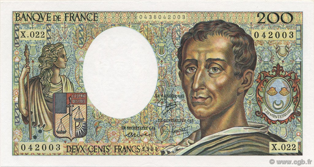 200 Francs MONTESQUIEU FRANCE  1984 F.70.04