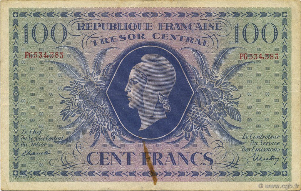 100 Francs MARIANNE FRANCE  1943 VF.06.01a TTB