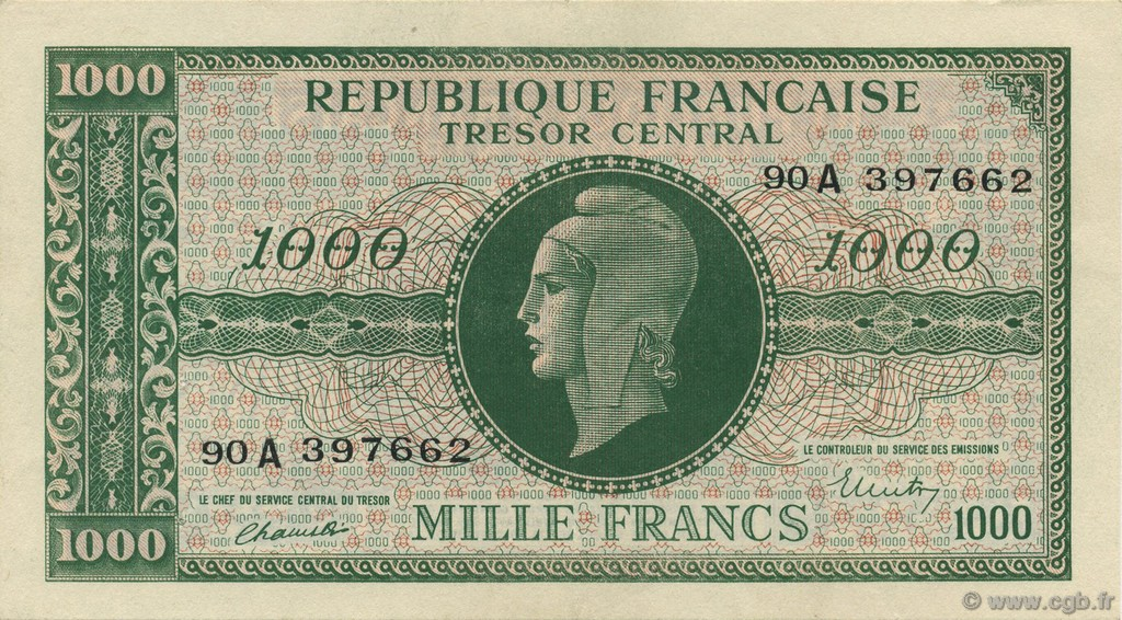 1000 Francs MARIANNE chiffres gras FRANCE  1945 VF.12.01 SUP