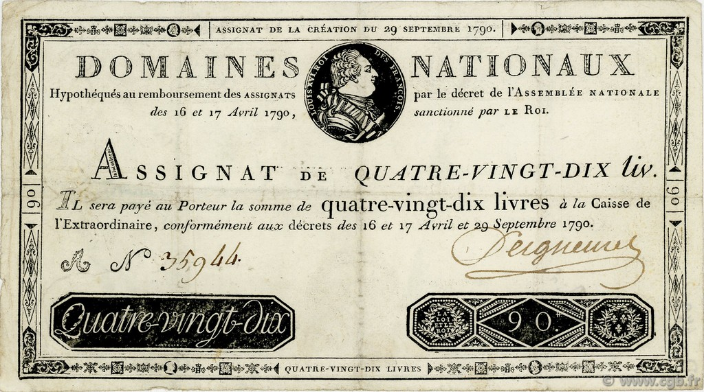 90 Livres FRANCE  1790 Ass.08a TTB