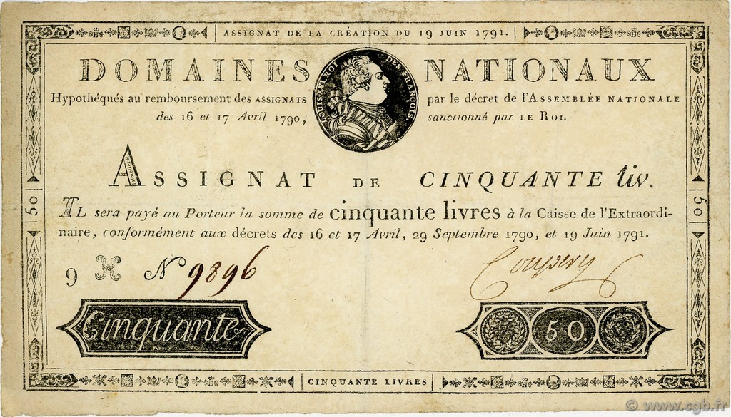 50 Livres FRANCE  1791 Ass.13a TTB+