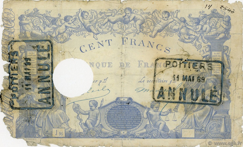 100 Francs type 1862 Indices Noirs FRANCE  1864 F.A34.02 AB