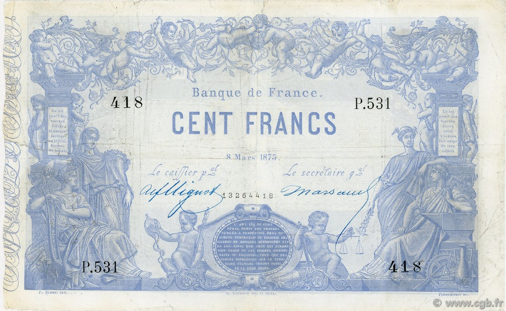 100 Francs type 1862 Indices Noirs FRANCE   F.A39.09 TB