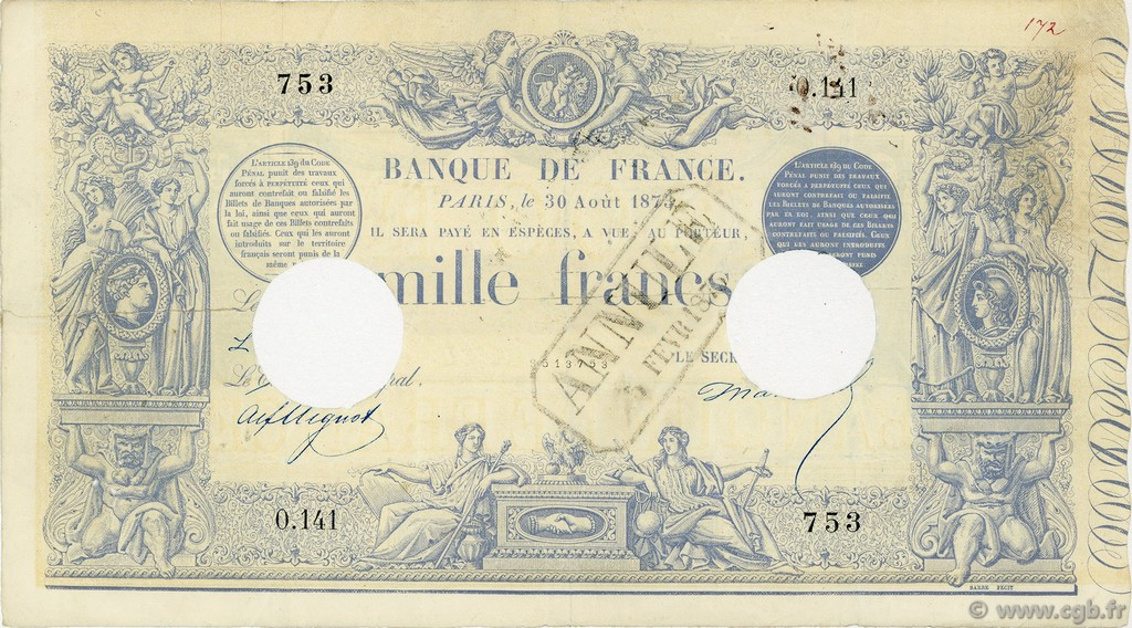 1000 Francs type 1862 indices noirs FRANCE  1873 F.A41.08 pr.TB