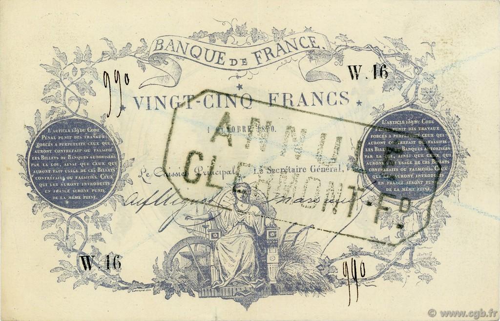 25 francs type 1870 clermont ferrand remplacement france 1870 f p22 0078 billets. Black Bedroom Furniture Sets. Home Design Ideas