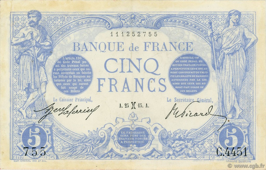 5 Francs BLEU FRANCE  1915 F.02.24 SUP