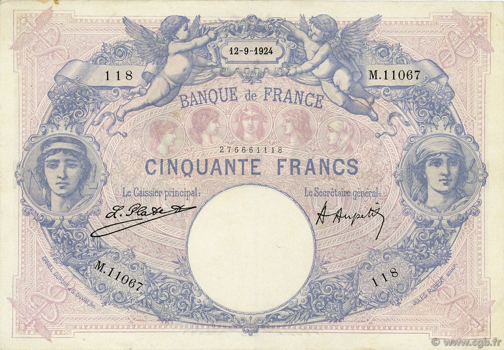 50 Francs BLEU ET ROSE FRANCE  1924 F.14.37 TTB+
