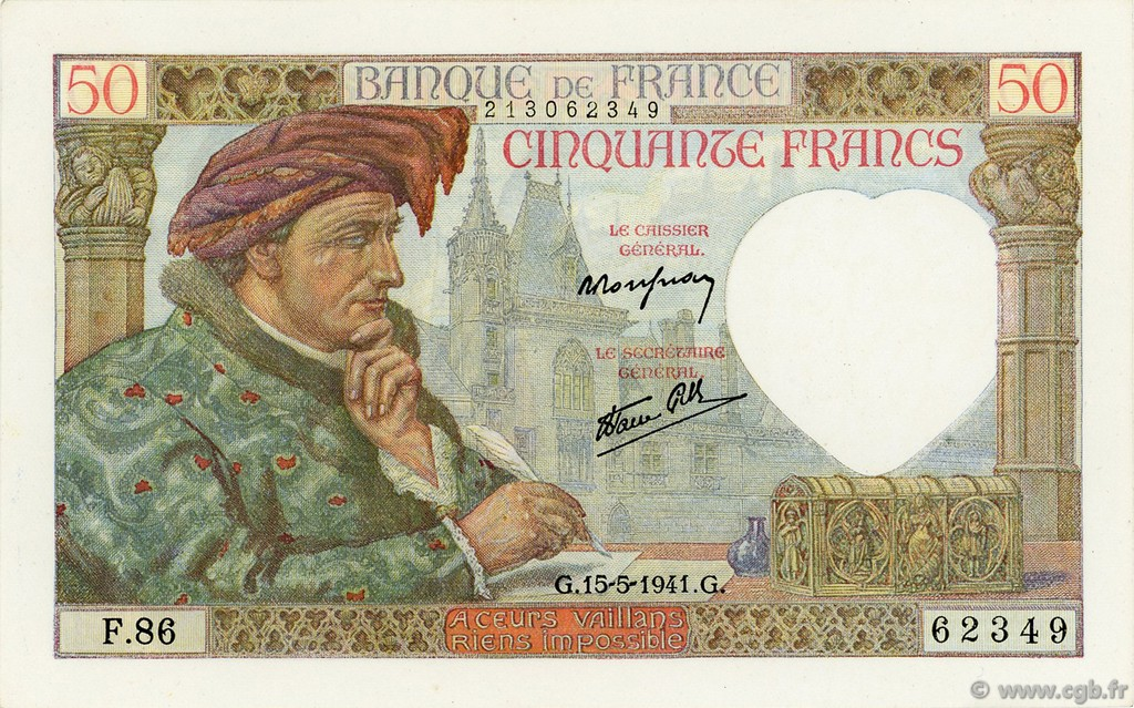50 Francs JACQUES CŒUR FRANCE  1941 F.19.11 SPL