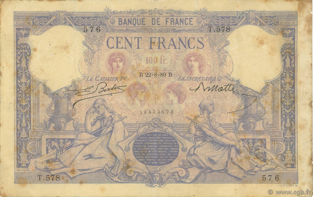 100 Francs BLEU ET ROSE FRANCE  1889 F.21.02 TB