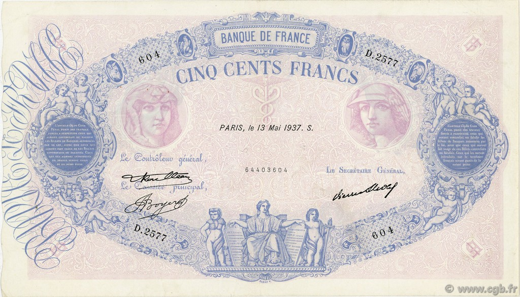 500 Francs BLEU ET ROSE FRANCE  1937 F.30.38 TTB