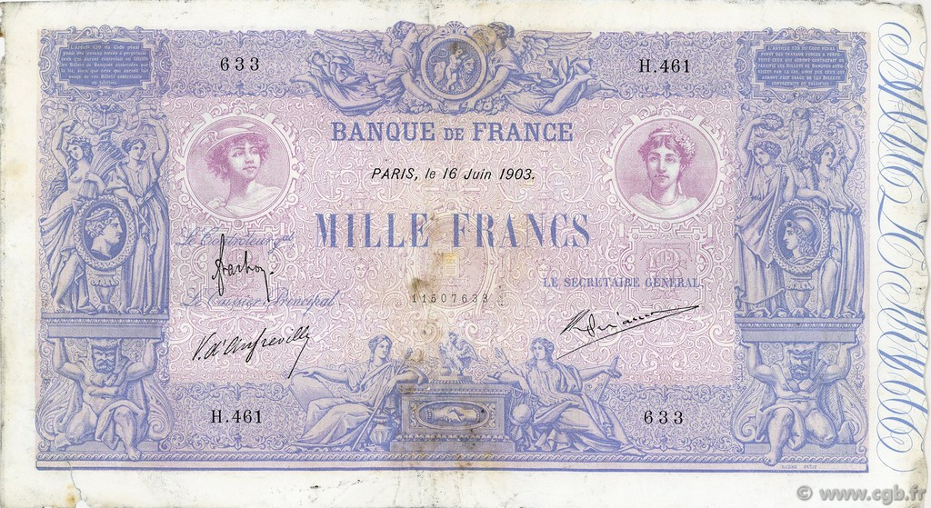 1000 Francs BLEU ET ROSE FRANCE  1903 F.36.17 pr.TB