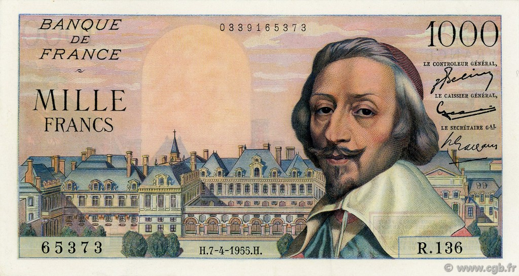 1000 Francs RICHELIEU FRANCE  1955 F.42.12 pr.SUP