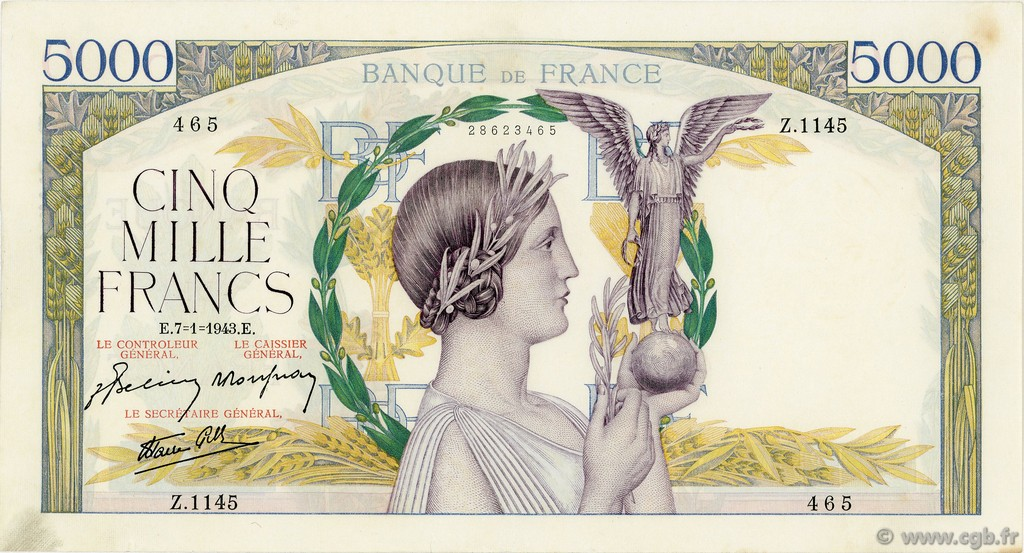 5000 Francs VICTOIRE Impression à plat FRANCE  1943 F.46.46 SUP