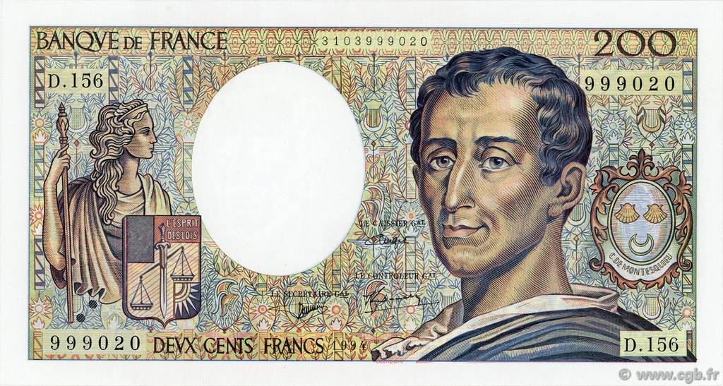 200 Francs MONTESQUIEU FRANCE  1982 F.70/2.01 NEUF