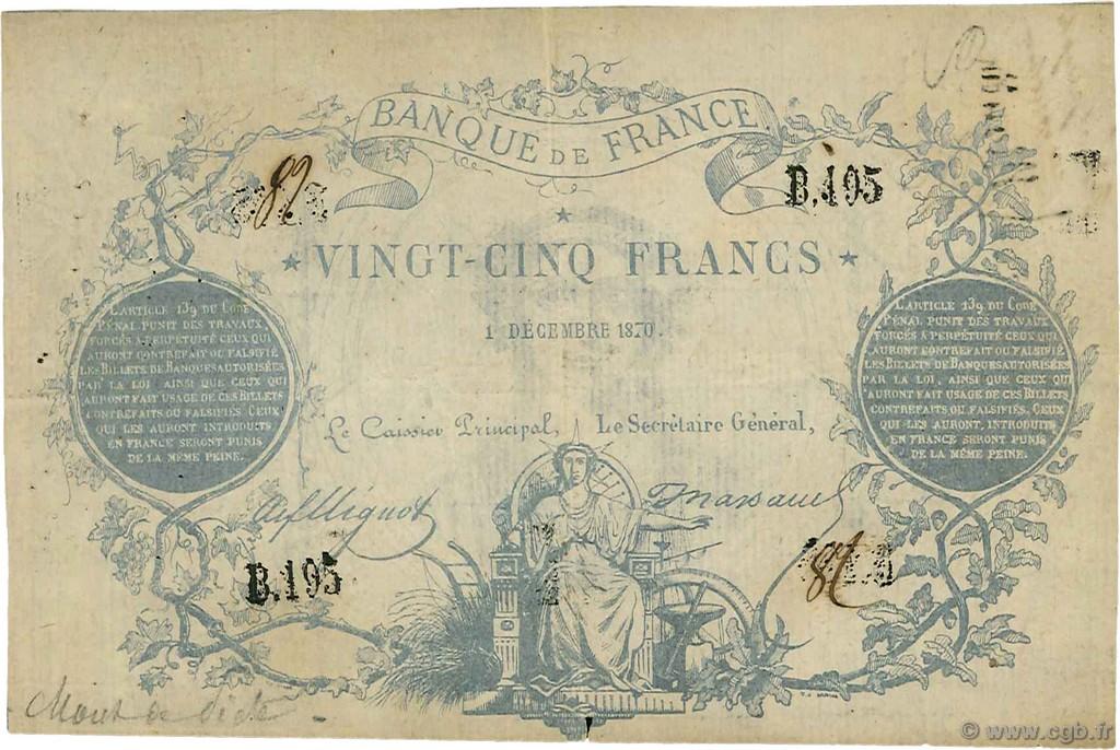 25 francs type 1870 clermont ferrand france 1870 f p23 0012 billets. Black Bedroom Furniture Sets. Home Design Ideas