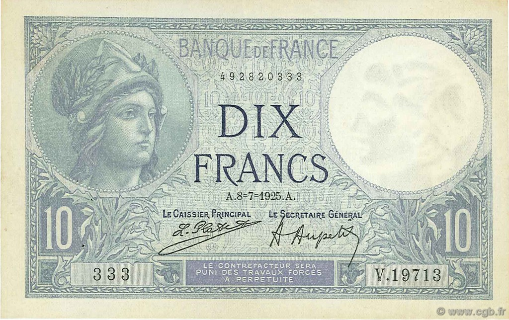 10 Francs MINERVE FRANCE  1925 F.06.09 SUP