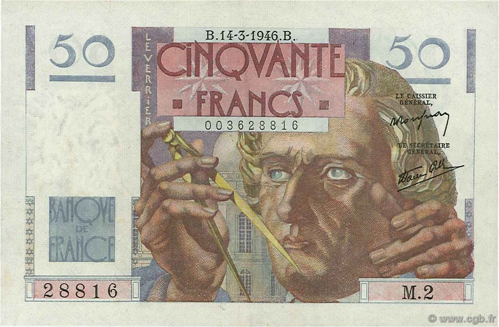 50 Francs LE VERRIER FRANCE  1946 F.20.01 SUP