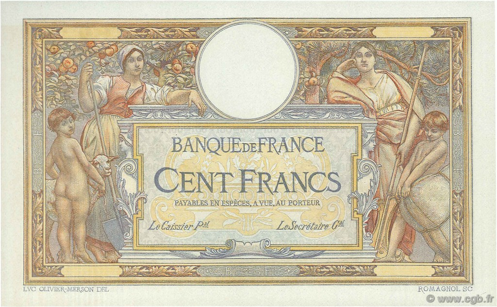 100 Francs LUC OLIVIER MERSON grands cartouches FRANCE  1923 F.24.00 NEUF