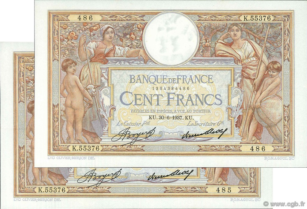 100 Francs LUC OLIVIER MERSON grands cartouches FRANCE  1937 F.24.16 SUP