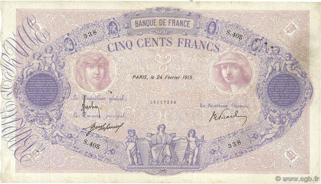500 Francs BLEU ET ROSE FRANCE  1915 F.30.22 pr.TTB