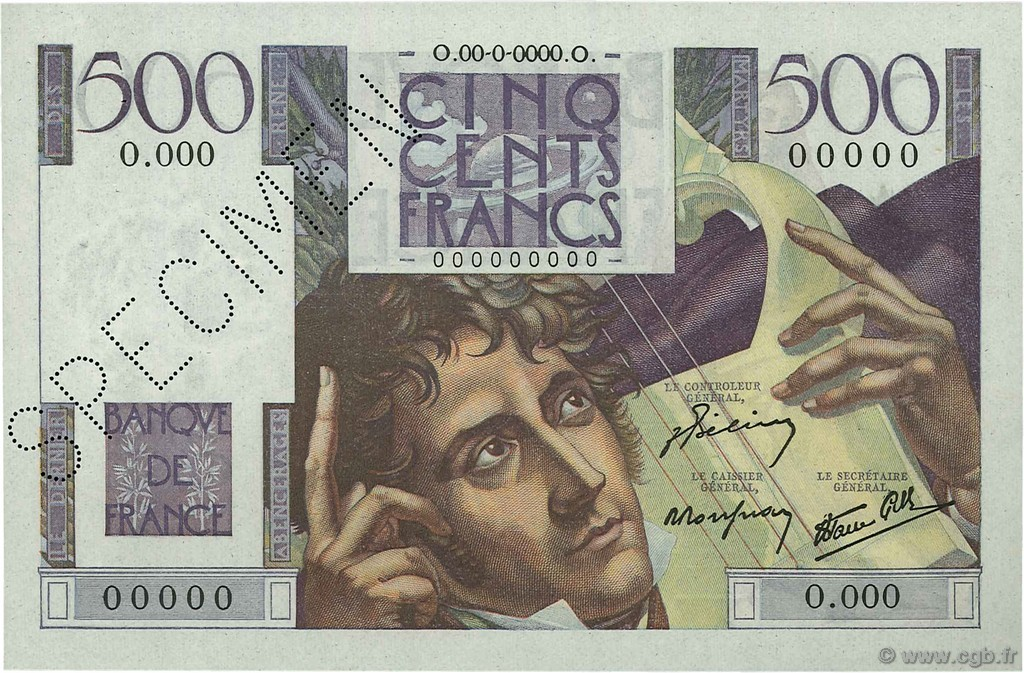 500 Francs CHATEAUBRIAND FRANCE  1945 F.34.00s1a SPL