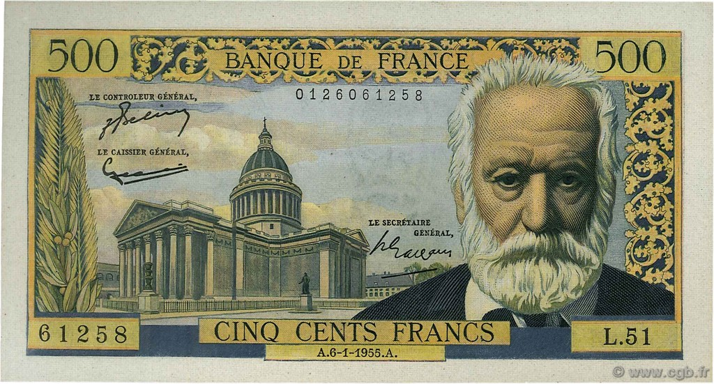 500 Francs VICTOR HUGO FRANCE  1955 F.35.04 SUP à SPL