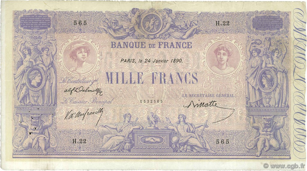 1000 Francs BLEU ET ROSE FRANCE  1890 F.36.02 TB+