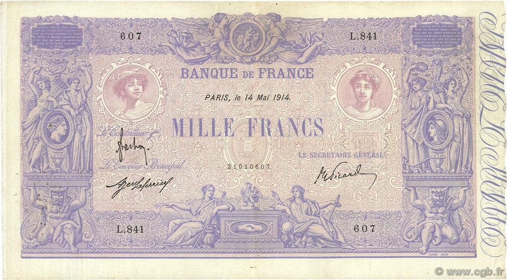 1000 Francs BLEU ET ROSE FRANCE  1914 F.36.28 TTB