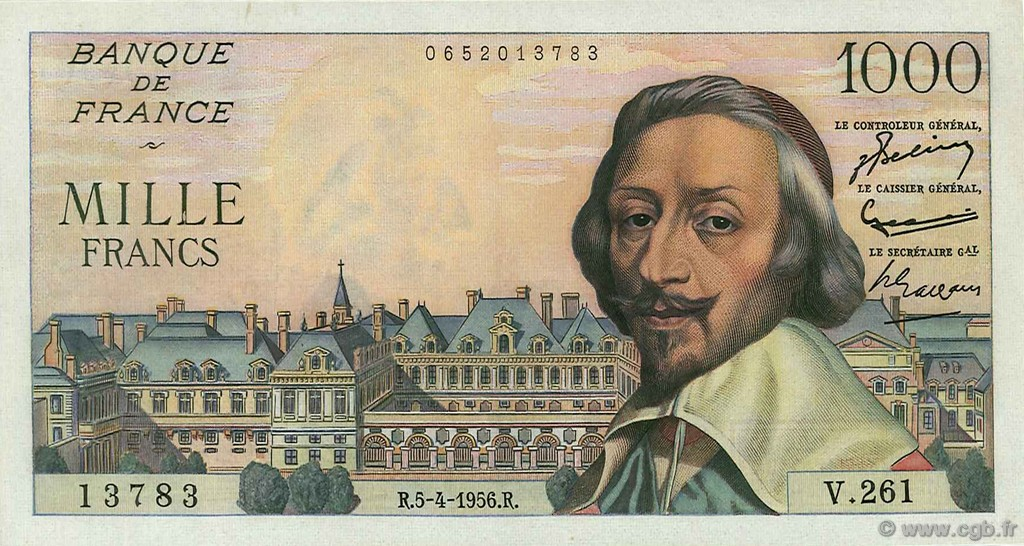 1000 Francs RICHELIEU FRANCE  1956 F.42.20 SUP