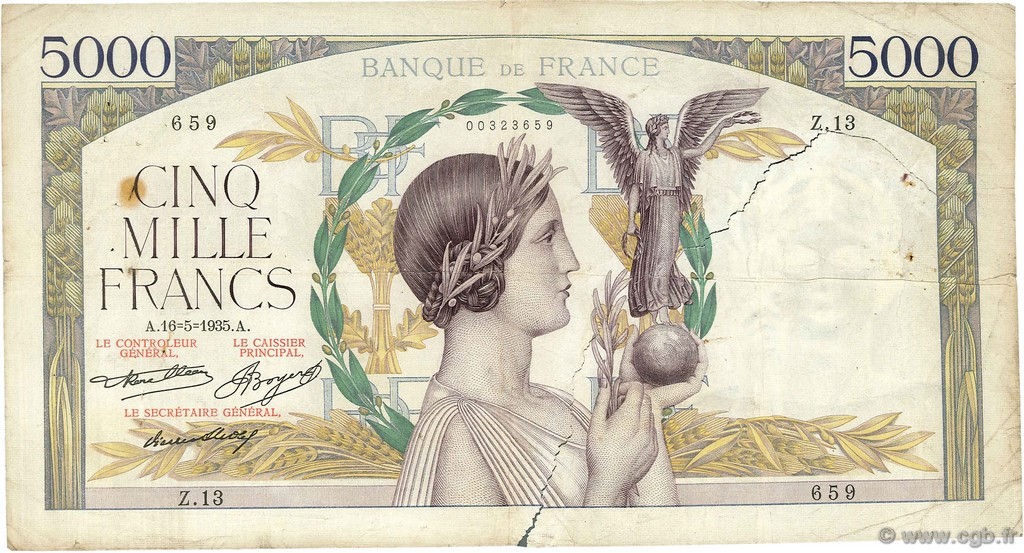 5000 Francs VICTOIRE Taille Douce FRANCE  1935 F.44.02 B
