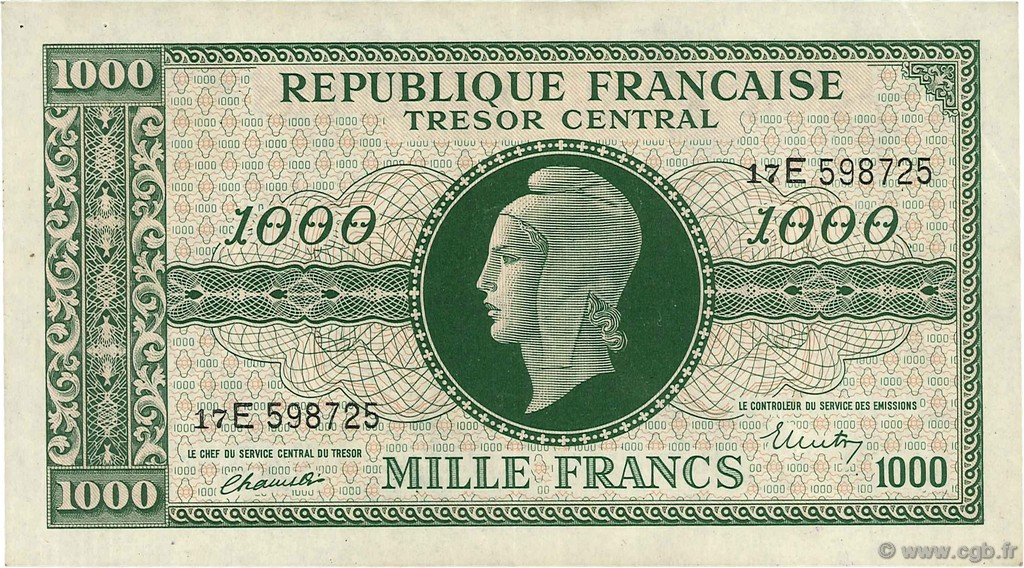 1000 Francs MARIANNE FRANCE  1945 VF.13.02 SUP