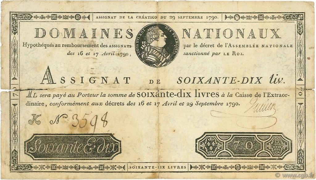 70 Livres FRANCE  1790 Ass.06a B+