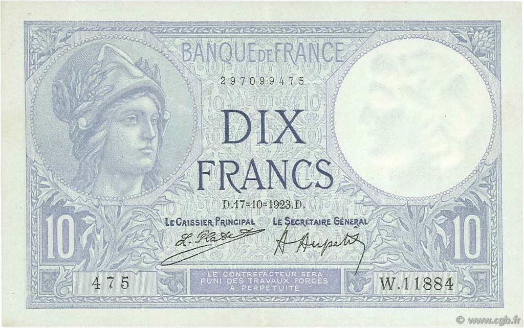 10 Francs MINERVE FRANCE  1923 F.06.07 SPL