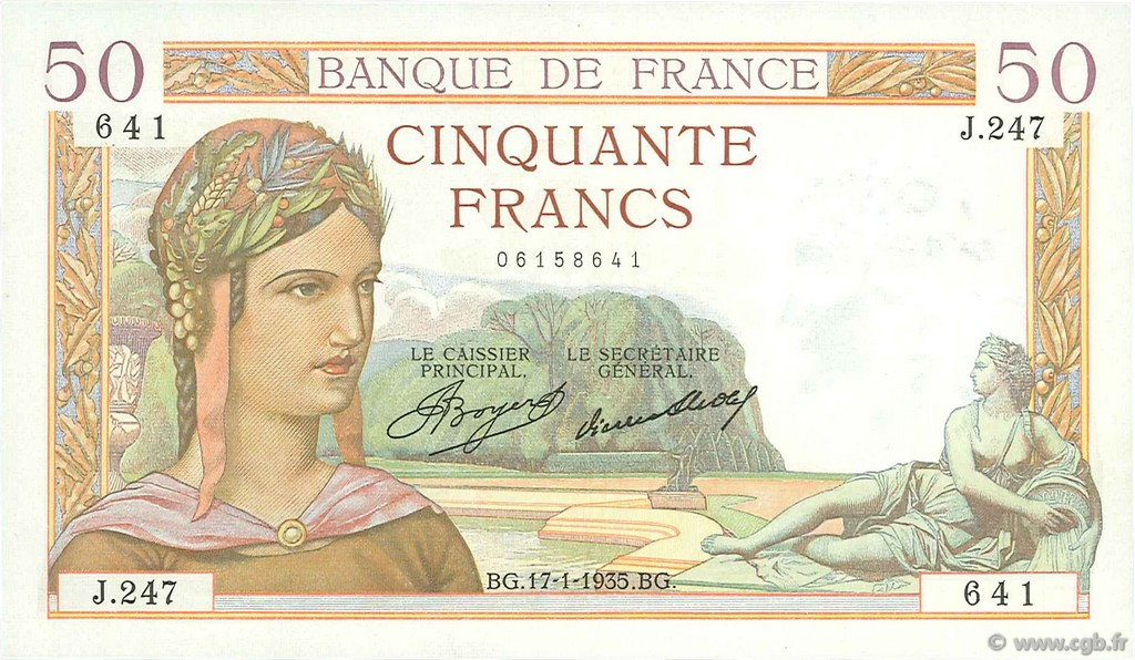 50 Francs CÉRÈS FRANCE  1935 F.17.03 SUP+