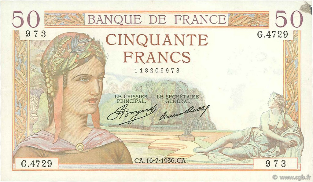 50 Francs CÉRÈS FRANCE  1936 F.17.28 pr.SUP